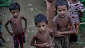 Rohingya children gather at the Dar Paing camp for Muslim refugees, north of Sittwe, western Rakhine state, Myanmar.