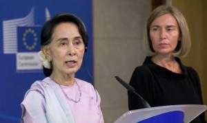 Aung San Suu Kyi & Federica Mogherini in Brussels (Olivier Hoslet:EPA) May 3 2017