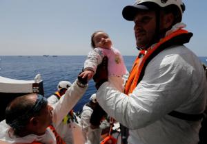 Baby refugee off Libya (REUTERS:Darrin Zammit Lupi) May 8 2017