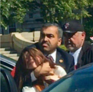 Erdogan bodyguard choking American woman on US soil, May 16 2017