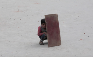 Kashmir boy behind shield (Farooq Khan:EPA) May 22 2017