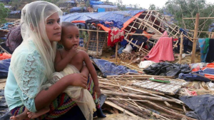 Rohingya mother and child in destroyed camp (Rohingya Ireland) June 2 2017