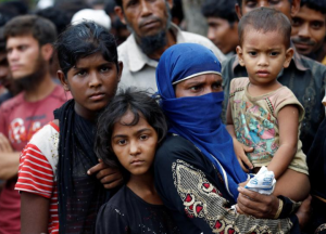 Rohingya refugees gather to collect relief supplies at the Balukhali Makeshift Refugee Camp. REUTERS:Mohammad Ponir Hossain June 1 2017