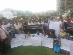 Amarnath yatri protest in Kashmir
