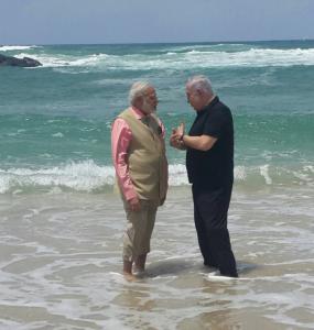 Modi and Netanyahu in ocean July 9 2017