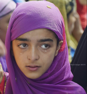 Young girl at funeral of Zahid Ahmad at Nawdal in Tral (Basit Zargar) Aug 11 2017