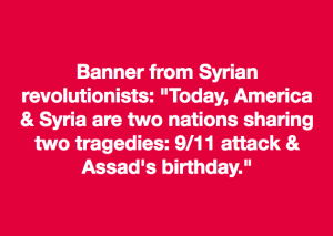 9:11 banner from Syria
