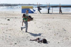 Aftermath of July 2014 bombing of Gaza beach killing 4 boys