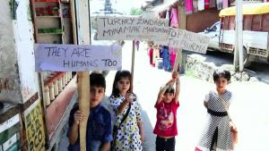 Children in Tral Kashmir at pro-Rohingya rally (Musa Kashmiri) Sept 4 2017