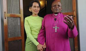 Desmond Tutu & Suu Kyi (Than Win:AFP:Getty Images) Sept 11 2017