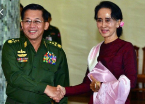 Gen. Min Aung Hlaing & Suu Kyi (Com-in-chief of military) from EU Rohingya Council Sept 12 2017