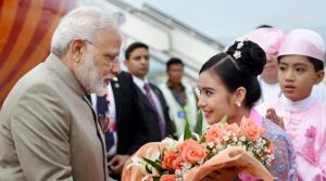 Modi arriving in Burma (PTI) Sept 5 2017