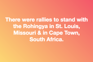 St. Louis and Cape town stand with Rohingya
