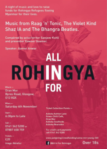 Glasgow concert for Rohingya Oct 13 2017
