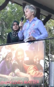 Mary Scully speaking at Rohingya rally Oct 6 2017