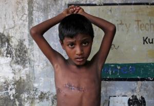 Mohammed Shoaib, 7, Ro shot in chest (Adnan Abidi:Reuters) Nov 7 2017