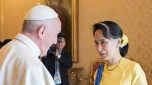 Pope Francis & Suu Kyi, May 4 2017 . (Osservatore Romano:Handout via REUTERS) Nov 24 2017