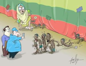 Racist cartoon vs Rohingya by Burmese racist