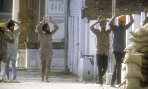 Sikh militants surrender to the Indian army in 1984 in Amritsar. Photograph- The India Today Group:India Today Group:Getty Images