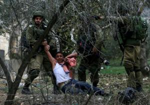 Palestinian being arrested near Nablus Dec 20 (Ammar Awad:Reuters) Dec 20 2017