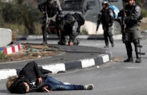 Palestinian shot lying on ground ( REUTERS:Goran Tomasevic) Dec 26 2017