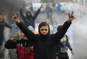 Palestinian version of hands up don't shoot AFP:Getty Images) Dec 8 2017