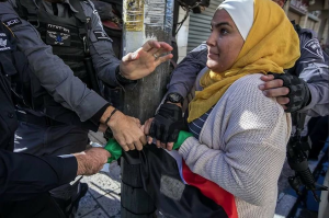 Palestinian woman fighting soldier for flag (Pal Info Center) Dec 11 2017