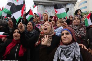 Women in Gaza vs Trump (AP Images:REX Shutterstock) Dec 8 2017