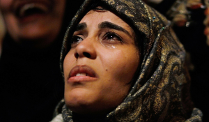 11 February 2011- A woman cries in Tahrir Square after it was announced that President Hosni Mubarak was stepping downChris Hondros:Getty Images