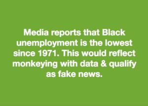 Black unemployment meme Jan 5 2018