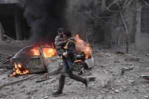 Ghouta siege bombing of Hmouriya (Muhammad Najem) Jan 7 2018