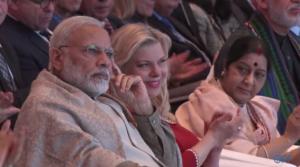 Modi, Mrs Netanyahu & Sushma Swaraj at Raisina conference Jan 2018