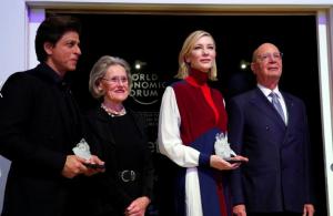 Shah Rukh Khan, Cate Blanchett, Klaus & Hilde Schwab at Davos Jan 24 2018