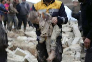 Syrian & Russian bombing victim in Idlib (White Helmets) Jan 18 2018
