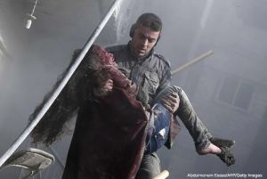 White Helmet rescuing girl in eastern Ghouta Jan 9 2018