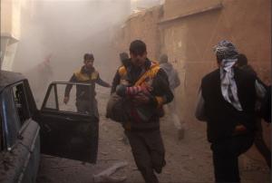 White Helmets rescue in Douma Jan 8 2018 (— Hamza Al-Ajweh : AFP - Getty Images) Jan 12 2018