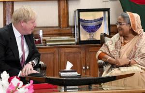 Boris Johnson & Sheikh Hasina in Dhaka Feb 9 2018 (Dhaka Tribune)