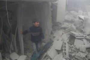 Crying boy in Eastern Ghouta Feb 22 2018