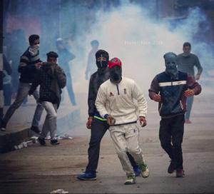 Kashmiri protesters on Feb 11 2018 in Srinagar. Feb 15 2018