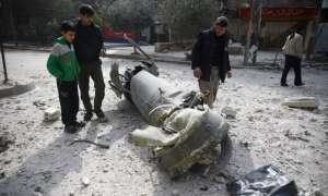 Missile in Douma ( Bassam Khabieh:Reuters) Feb 25 2018