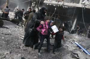 Women & kids running for cover in Eastern Ghouta (Abdulmonam Eassa:AFP:Getty Images) Feb 21 2018