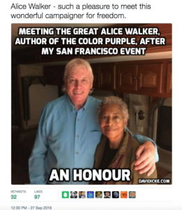 David Icke tweet with Alice Walker Mar 23 2017 & 2018