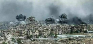 Alyarmouk Quarter, Palestinian quarter in Damascus being bombed Apr 20 2018