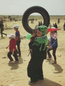 Collecting tires at (Great Return March) Apr 13 2018