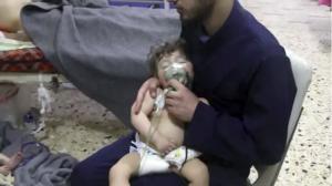 Infant in Douma receiving tx for chlorine gas attack (AP) April 10 2018