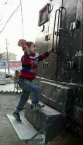 Kashmiri small boy stone pelter