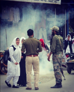 Kashmiri women protesters & soldiers (The Times of Koshur) Apr 5 2018