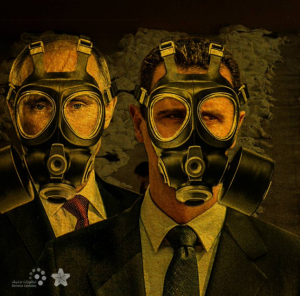 Putin & Assad in gas masks Aug 21 2017
