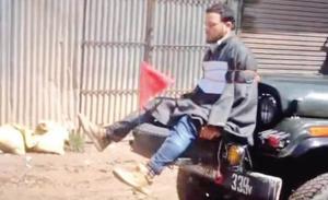 Farooq Ahmad Dar as human shield on jeep