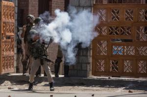 Govt Forces firing teargas canisters towards protesters outside Jamia Masjid Srinagar. (Photo- Abid Bhat:KO)